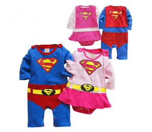 Baby Boy Girl Superman Supergirl One Piece Twins set soft cotton outfit birthday