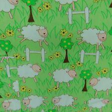 HAPPY SCRUBS WOMENS MEDIUM SHEEP WHITE GREEN SCRUB TOP NURSE MEDICAL