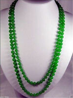 "Natural 8mm Green Jade Round Gemstone Beads Necklace 35"" Jewelry"