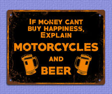 metal sign plaque grunge happiness beer funny bar mancave tin image 20 x 15cm
