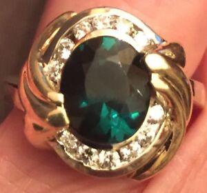 Gorgeous Tourmaline Diamond Ring 14k Yellow Gold 2.43 2 Tone Size 7 Estate