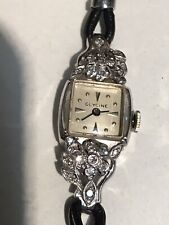 Antique Or Vintage 14ct Gold Platinum With Diamond Glycine Watch Original Strap