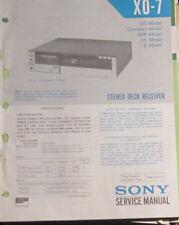 Sony XO-7 cassette récepteur service repair workshop manual (original)