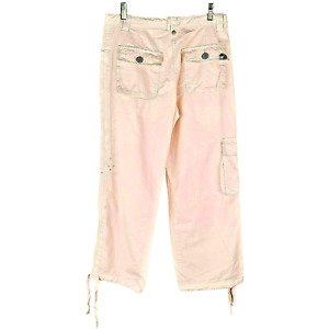 BLUE WILLI'S Denmark Pink Embroidered+Rhinestone Cropped Pants 8 NWOT $109 TTCB