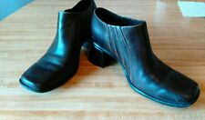 Clarks Ankle Boots/Booties - Womens Sz 8 Brown Leather- Square Toe - Slip On