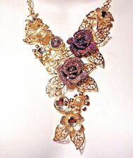 GOLD TONE ROSE FLORAL BIB flower statement necklace AB mauve clear chunky new V1