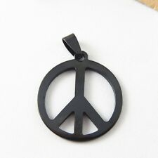 2pcs Gun Black Stainless Steel Peace Symbol Charms Necklace Pendant Findings