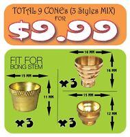 9 Cone Pieces Brass cones metal smoking pipe - bonza cone for bong water pipe