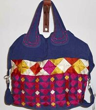 Ladies Handloom Fabric Bag with all over Multicoloured Embroidery