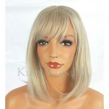 FULL WOMENS LADIES FASHION HAIR WIG LIGHT SILVER GREY SHOULDER LENGTH BOB UK