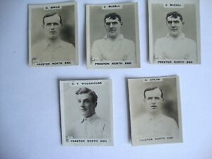 1920s Godfrey Phillips Pinnace Footballer Photo Cards - 5x Preston North End PNE