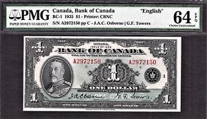 "1935 Bank of Canada $1 BC-1 ""ENGLISH"" Choice UNC PMG 64 EPQ"