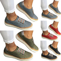 Womens Breathable Loafers Pumps Casual Slip On Flat Sneakers Trainers Shoes Size