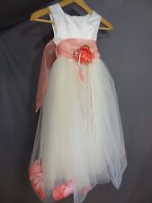 Girl's Kid's Dream Tulle Overlay Flower Girl Wedding Party Dress Ivory Coral.
