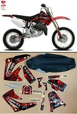 2003-2008 GRAPHICS KIT HONDA CR 85 DECALS MOTOCROSS STICKER + BLACK SEAT COVER