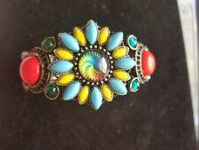 Beautiful OOAK bangle bracelet Antique Bronze with many vintage cabochons/rhines