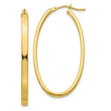 3mm x 43mm 14k Yellow Gold Polished Flat Tube Large Oval Hoop Earrings