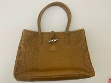 USED Longchamp Roseau croc-embossed beige leather tote bag handbag