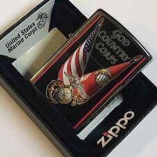 ZIPPO CHROME US MARINES USMC GOD COUNTRY CORPS FLAG LIGHTER RARE NEW