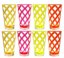 8 pc Acrylic 22oz Tea Cup Neon Twist Stripes w/ Clear Heavy Base Plastic 4 Color