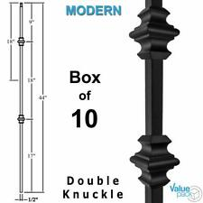 Double Knuckle Modern Iron Baluster (10-Pack) Hollow Metal Spindle (Satin Black)
