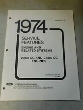 Nos 1974 Ford Mustang Ii Pinto 2300cc 2800cc Engines Shop Service Manual