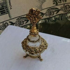 "RARE Vintage 8"" Gold Gilt Ornate Fancy Perfume Bottle Vanity Floral Dabber Glass"