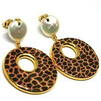 Ohrringe Silber 925 Ohrhänger Perlen Barock Flach, Oval Effect Leopard