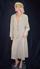 Vintage 60's Checkered Herringbone Wool Blazer Jacket Skirt Suit Size XL/XXL