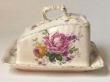 Antique Franz Anton Mehlem Royal Bonn Butter Cheese Dish Porcelain Roses Germany