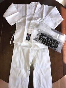 ProForce 6oz White Karate Student Uniform Taekwondo Costume White Belt 000