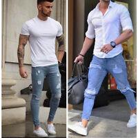 NEW Men Stretchy Ripped Skinny Biker Jeans Destroyed Taped Slim Fit Denim Pants