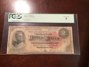 PCGS 8 FR#242 1886 $2 SILVER CERTIFICATE HANCOCK. VERY SCARCE PROBLEM FREE NOTE