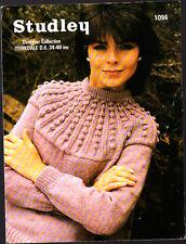 Vintage Knitting Pattern, Studley, Ladies Sweater, 34-40in, 1094
