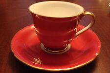 Victoria Czechoslovakia  coffee cup/saucer, red with gold rim [a*5-b1]