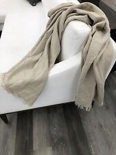 "Restoration Hardware Sarita Washed Linen Throw Blanket Khaki/Tan 50""x70"" NWT"