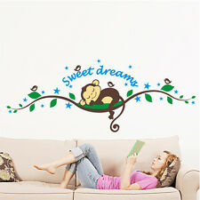 Sweet Dream Monkey Removable DIY Vinyl Decal Kid Room Home Decor Wall Stickers