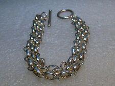 "Silver Tone Triple Strand Bracelet, Oval Link, Toggle Clasp 1/2"" wide"