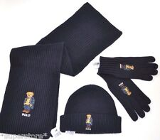 NEW RALPH LAUREN POLO BEAR BEANIE HAT SCARF GLOVES Men's Set Ski GIFT NAVY