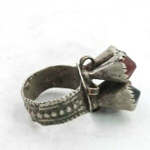 OLD ANTIQUE POST MEDIEVAL BRASS RING WITH 4 RARE GLASS INSERTS