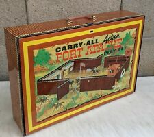 Vintage Marx #4685 Fort Apache Carry-All Toy Box Case Tin Toy Play Set Playset