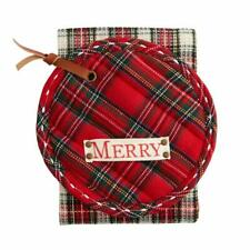 New listing Mud Pie Home Red Tartan Pot Holder and White Kitchen Towel Christmas Set