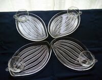 Federal Glass 4 Clear Hawaiian Leaf Snack Luncheon Plate & 6 oz Cup Sets