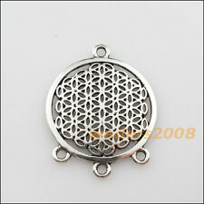 3 New Charms Tibetan Silver Round Flower 1-3 Pendants DIY Connectors 29x37mm