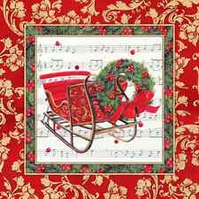 Christmas 20 Paper Lunch Napkins WINTER SLEIGH Red Green Winter Santa Claus / D