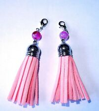 2 x 85 mm PINK Suede Tassel Pendant  and Natural Agate Beads free post