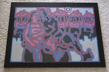 LISTED CALIFORNIA PAINTING 1970'S RETRO POP ABSTRACT CUBIST  NUDE EROTIC VINTAGE