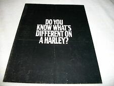 """1987 Harley Davidson Poster Brochure """"Do You Know What's Different On a Harley?"""""""