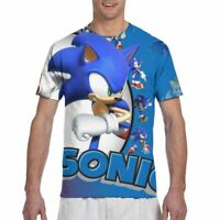 The Hedgehog Sonic Mens Short Sleeve Anime T-Shirt Crewneck Casual Tee Blue Gift