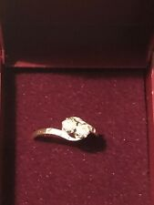 Beautiful 18ct Gold 2 Stone Diamond Ring Size N Engagement Used With Gift Box 2g